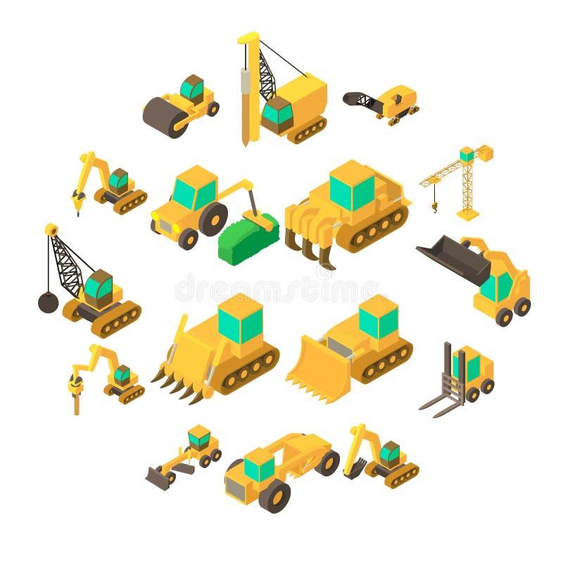 Iconos fijados, estilo isométrico de los vehículos del edificio ilustración del vector