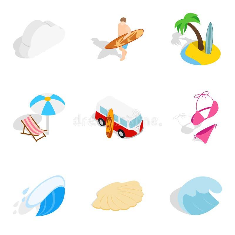 Iconos fijados, estilo isométrico del flujo del río ilustración del vector