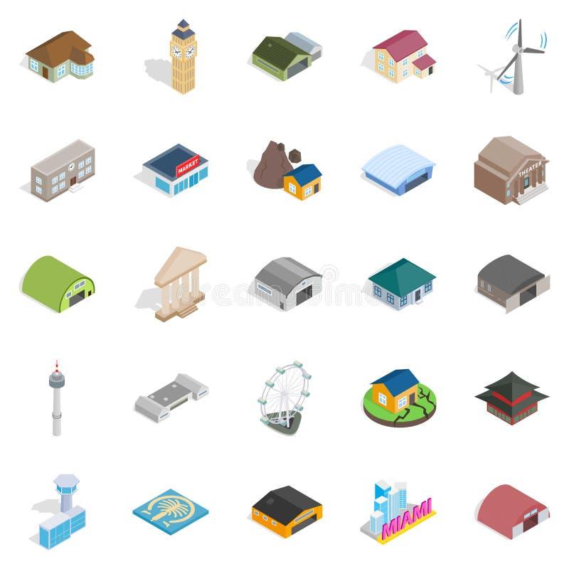 Iconos fijados, estilo isométrico del montaje libre illustration
