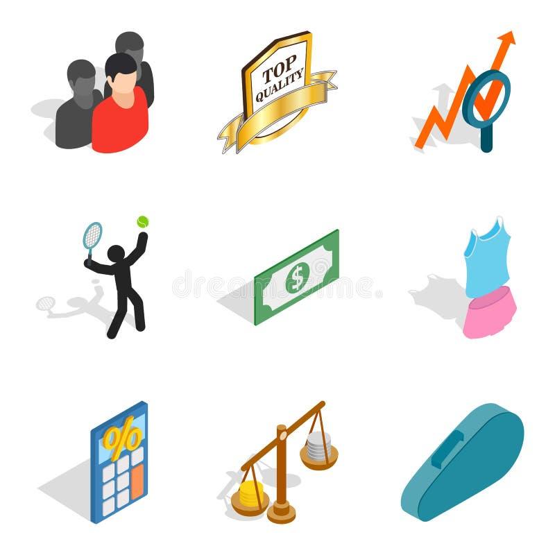 Iconos fijados, estilo isométrico del nombramiento libre illustration