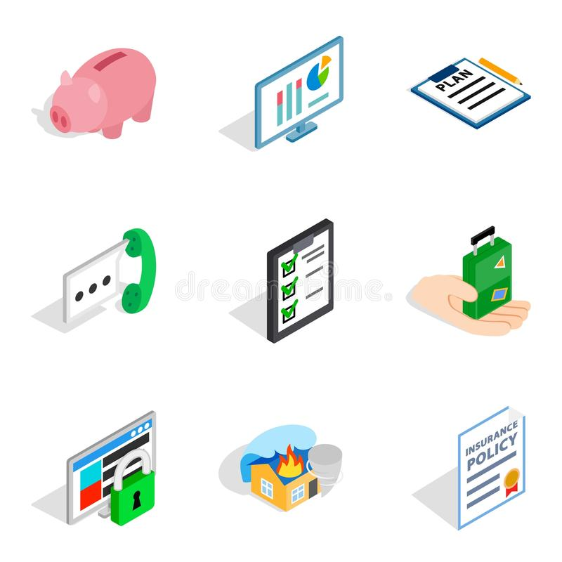 Iconos fijados, estilo isométrico del oficial técnico stock de ilustración