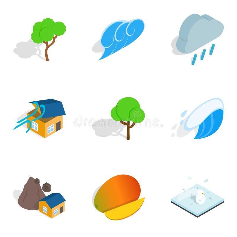 Iconos fijados, estilo isométrico del peligro natural stock de ilustración
