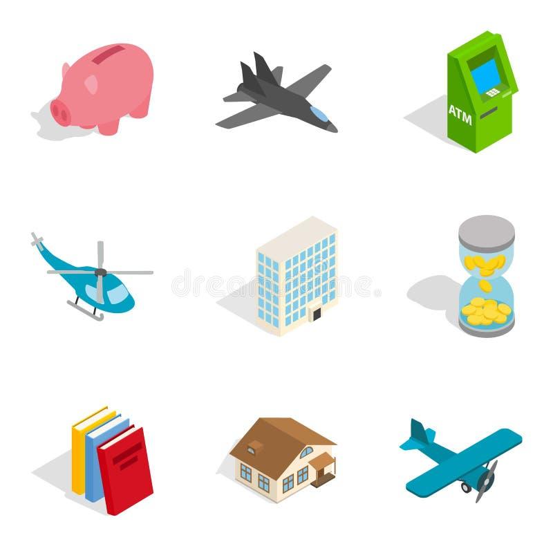 Iconos fijados, estilo isométrico del sistema económico libre illustration
