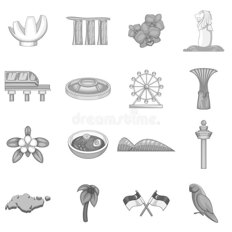 Iconos fijados, estilo monocromático del viaje de Singapur ilustración del vector