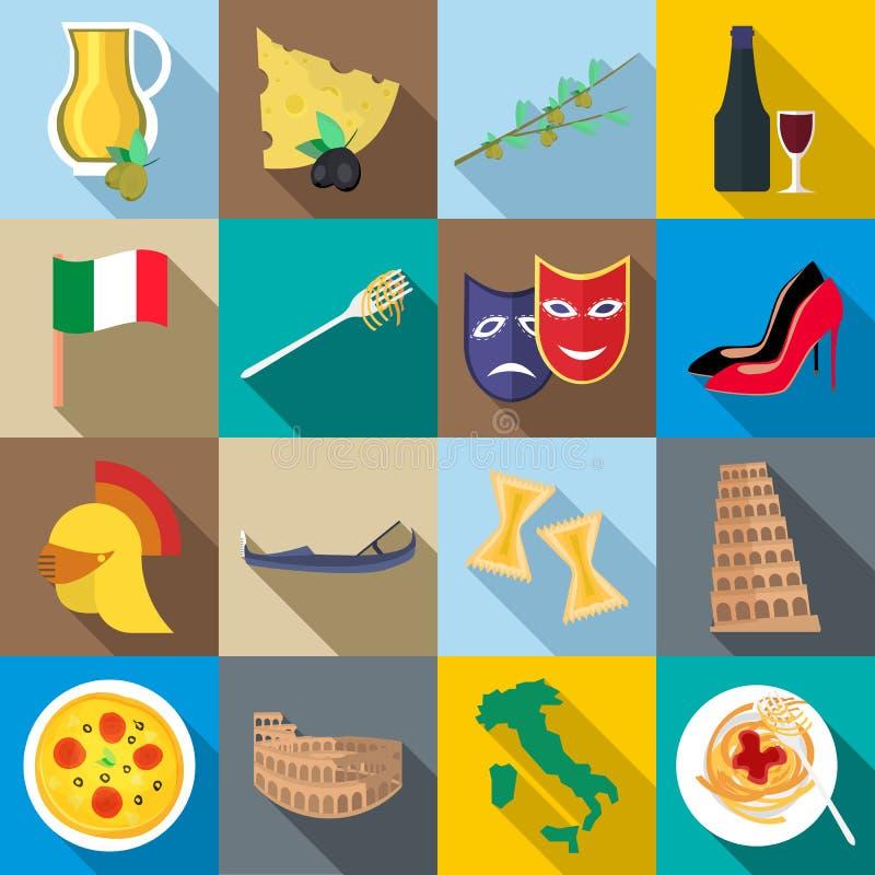 Iconos fijados, estilo plano de Italia ilustración del vector