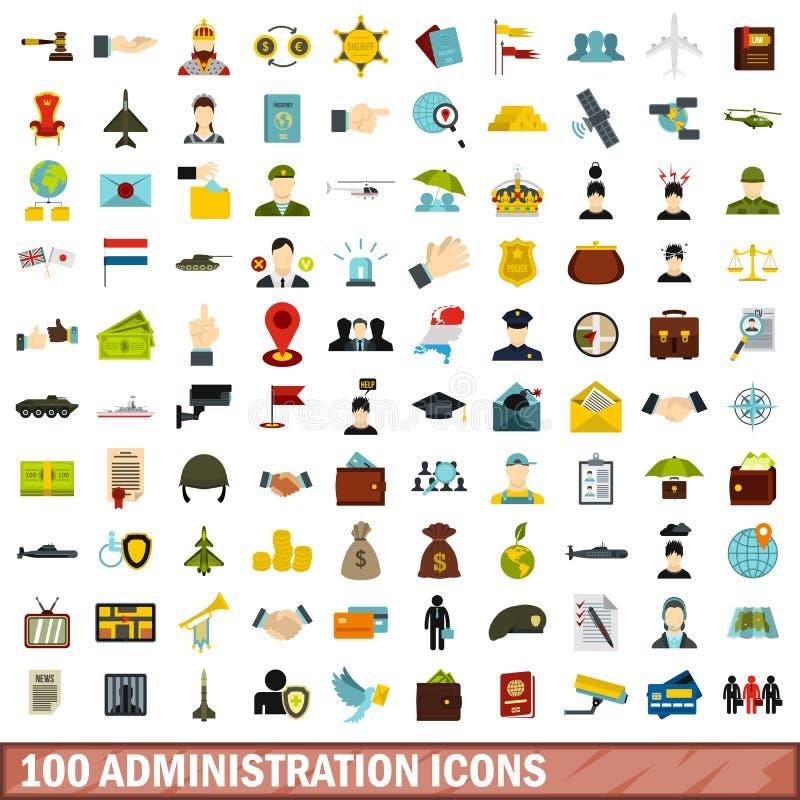 100 iconos fijados, estilo plano de la administración stock de ilustración