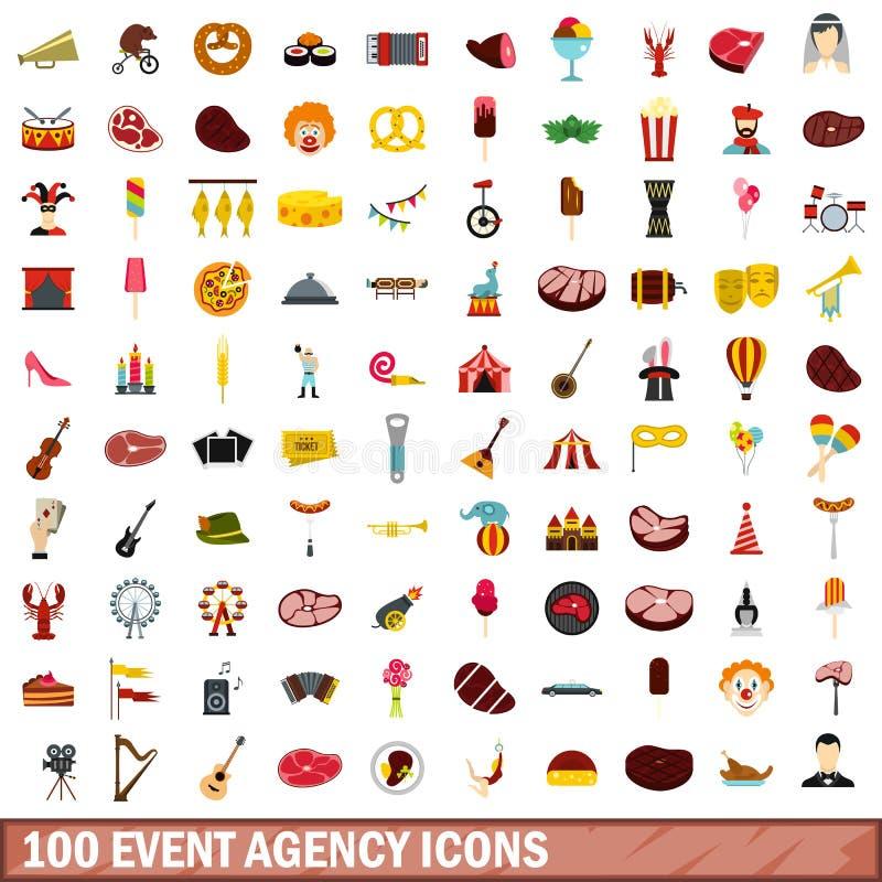 100 iconos fijados, estilo plano de la agencia del evento ilustración del vector