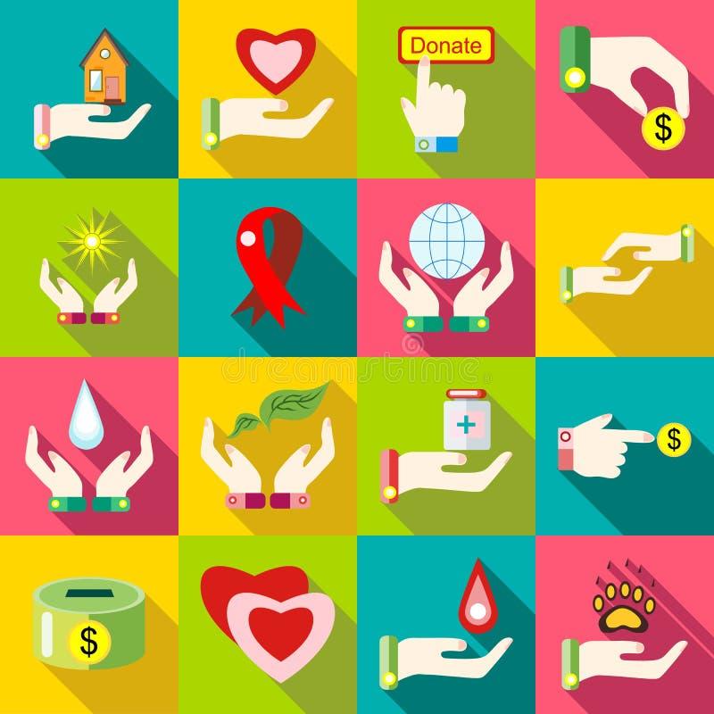Iconos fijados, estilo plano de la caridad ilustración del vector