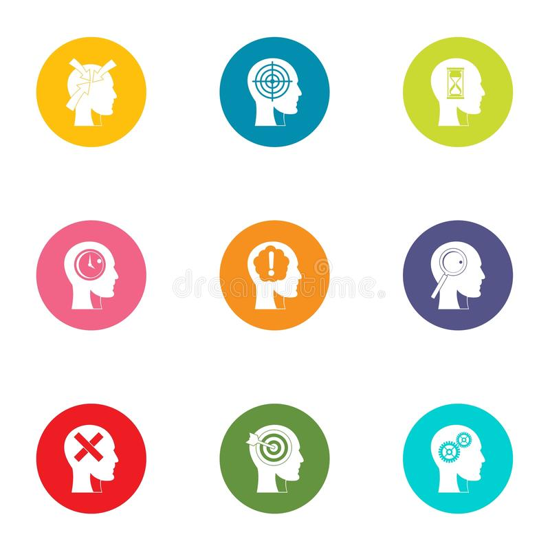 Iconos fijados, estilo plano de la cognición ilustración del vector