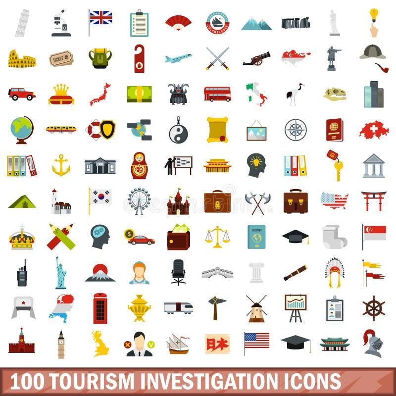 100 iconos fijados, estilo plano de la investigación del turismo libre illustration