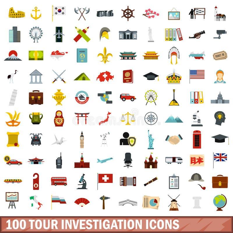 100 iconos fijados, estilo plano de la investigación del viaje ilustración del vector