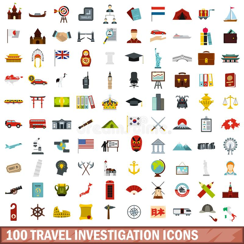 100 iconos fijados, estilo plano de la investigación del viaje stock de ilustración