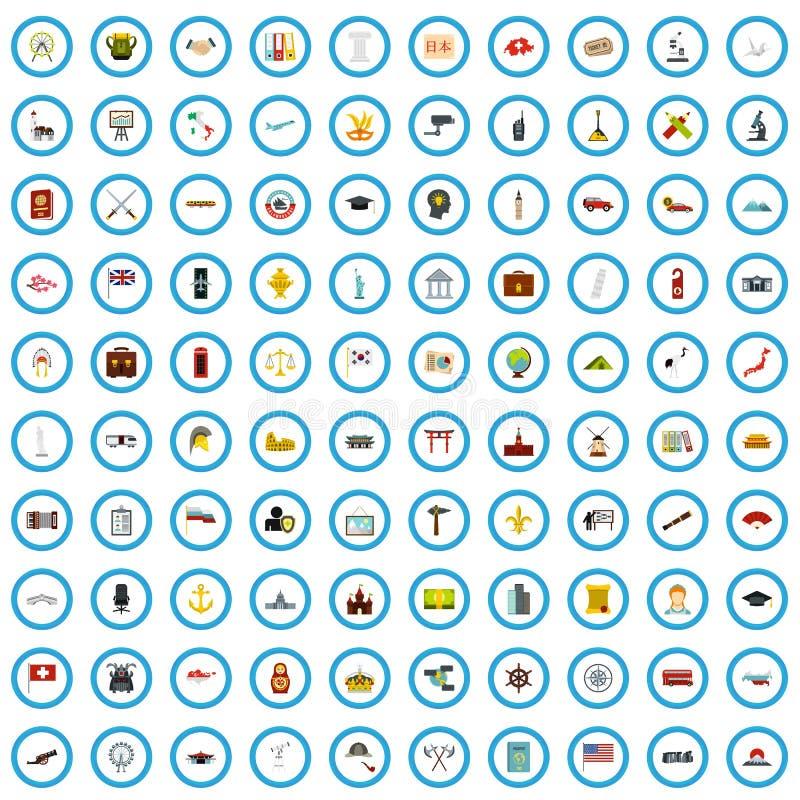 100 iconos fijados, estilo plano de la investigaci?n del viaje stock de ilustración