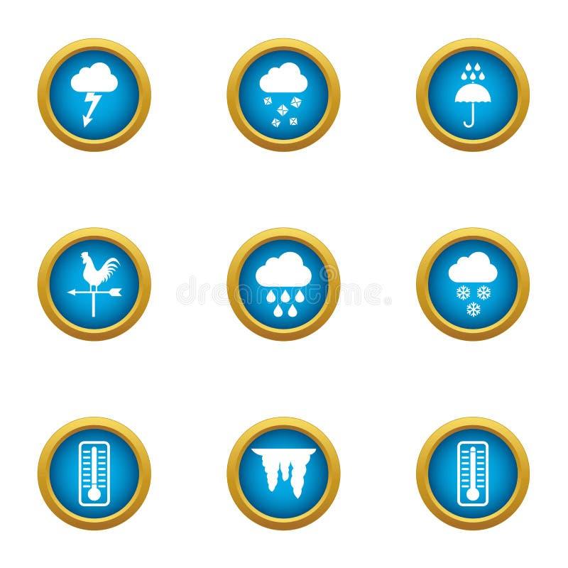 Iconos fijados, estilo plano de la observación del tiempo ilustración del vector