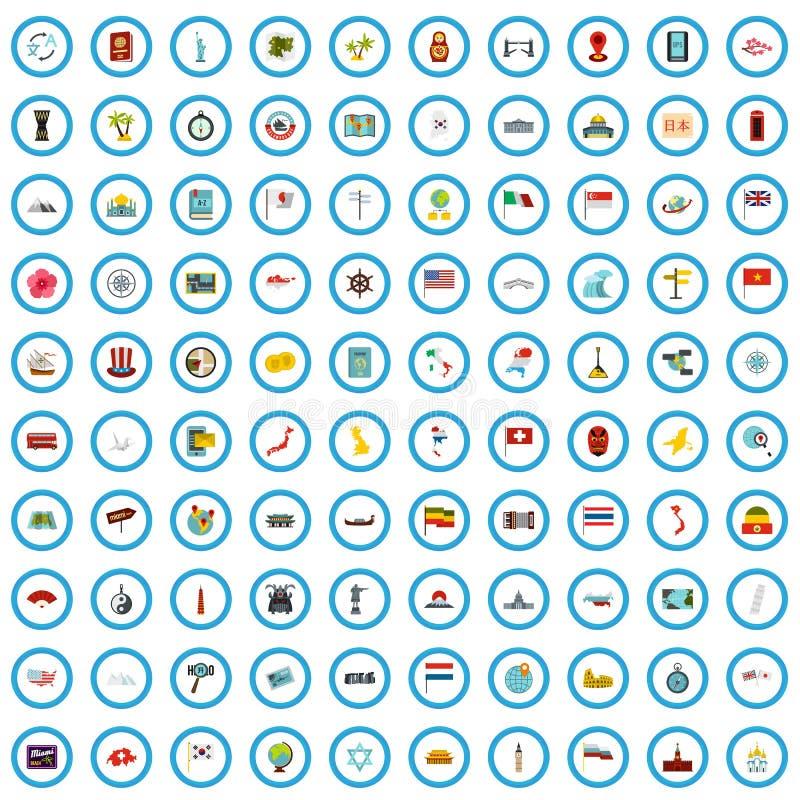 100 iconos fijados, estilo plano de la región ilustración del vector