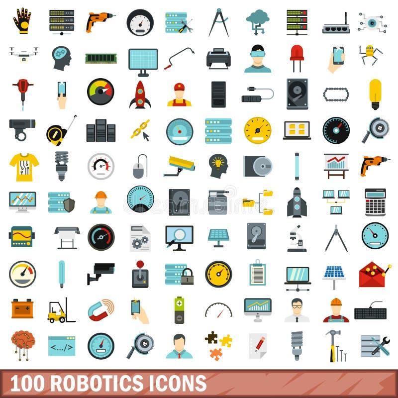 100 iconos fijados, estilo plano de la robótica libre illustration