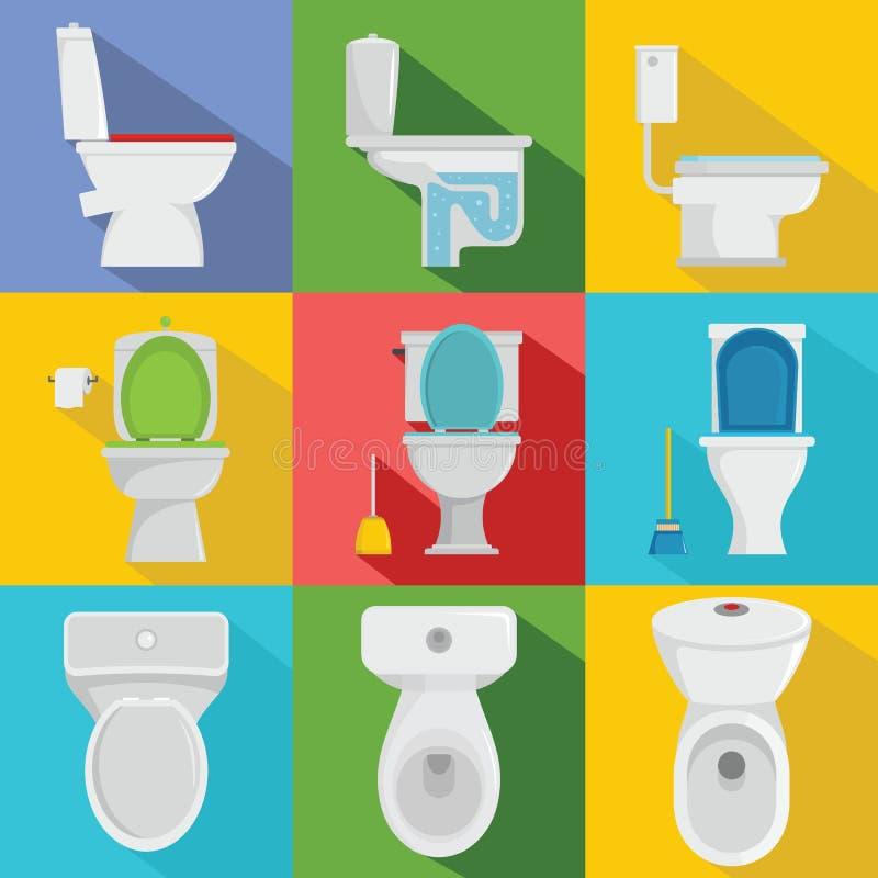 Iconos fijados, estilo plano de la taza del inodoro ilustración del vector
