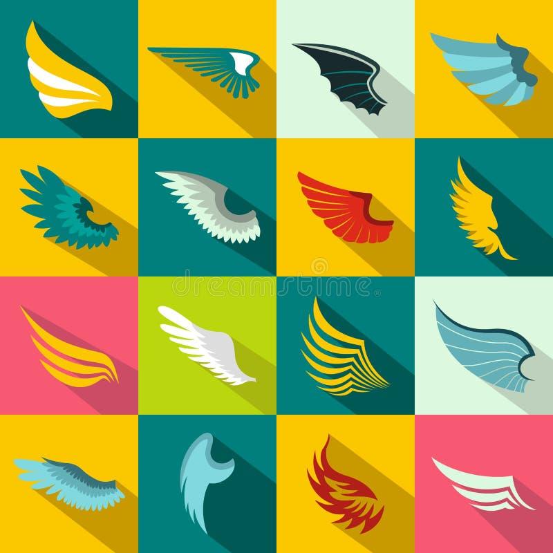 Iconos fijados, estilo plano de las alas stock de ilustración