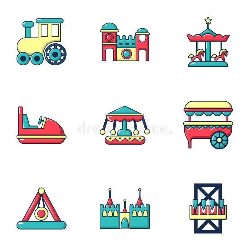 Iconos fijados, estilo plano de las atracciones del Funfair ilustración del vector