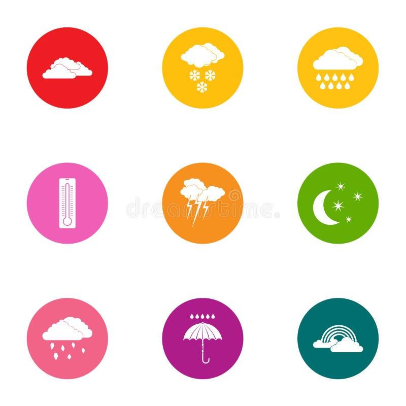 Iconos fijados, estilo plano de las condiciones meteorológicas libre illustration