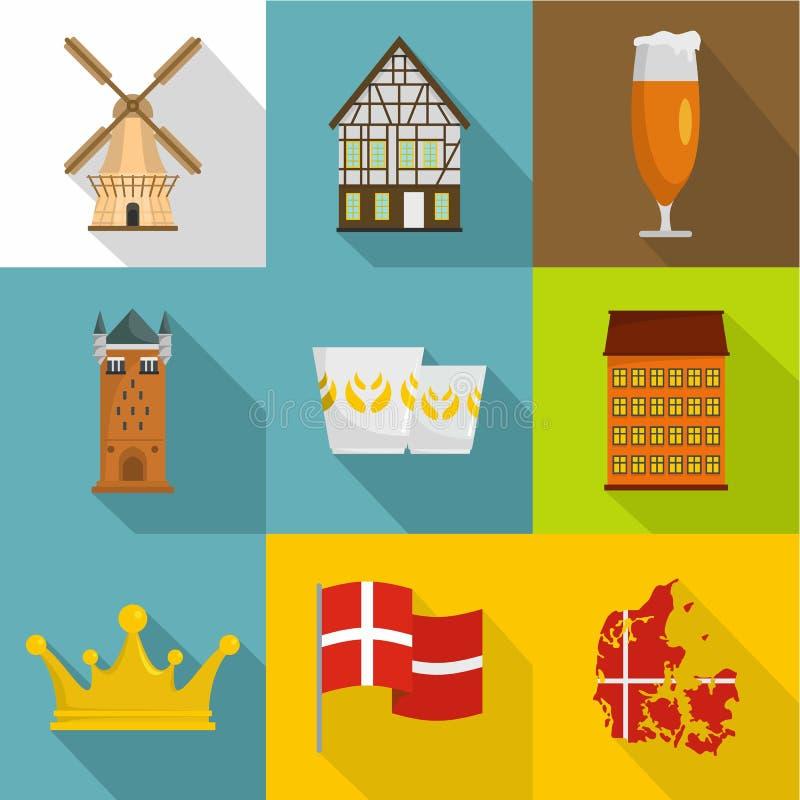 Iconos fijados, estilo plano de las extensiones libre illustration