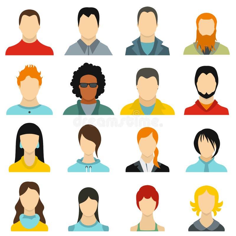 Iconos fijados, estilo plano de los avatares ilustración del vector