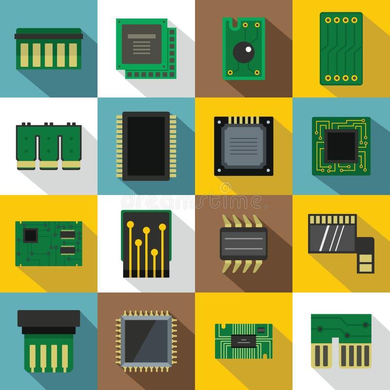 Iconos fijados, estilo plano de los chips de ordenador stock de ilustración