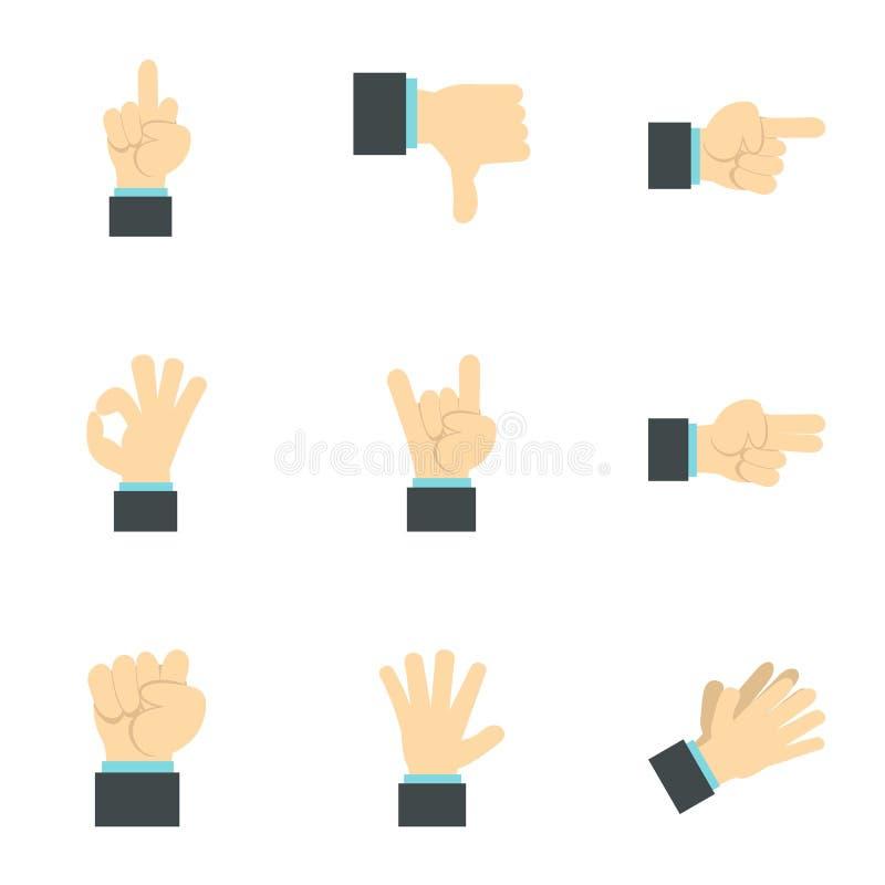 Iconos fijados, estilo plano de los gestos de la comunicación ilustración del vector