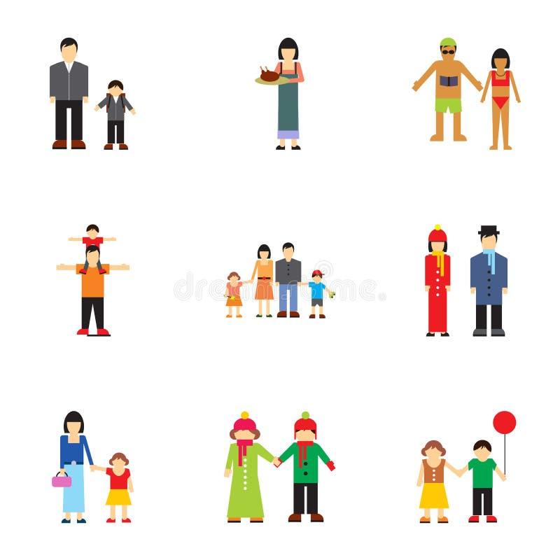 Iconos fijados, estilo plano de los parientes de la familia stock de ilustración