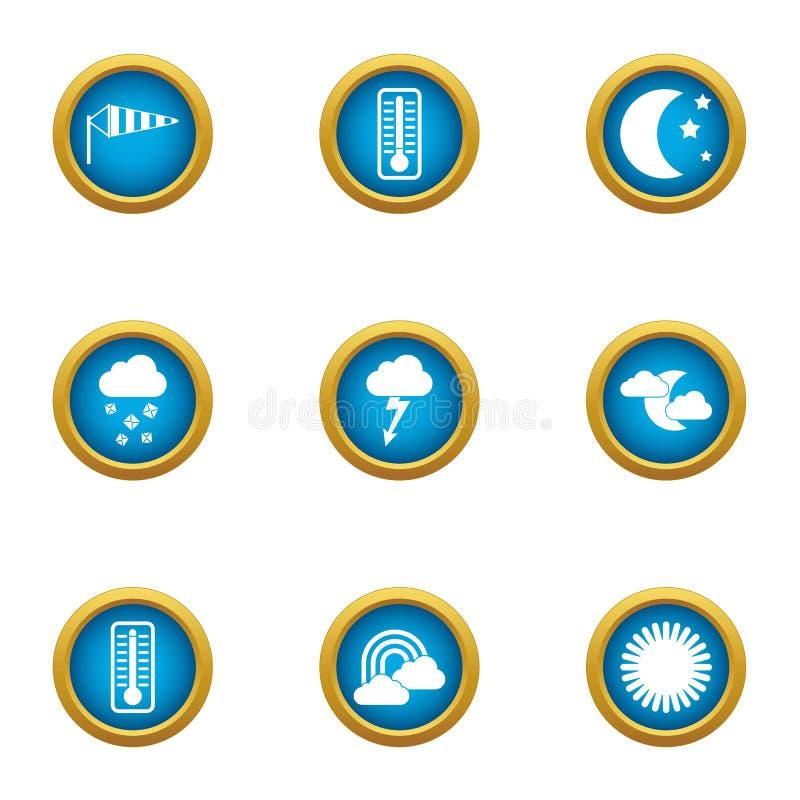 Iconos fijados, estilo plano del aparato del tiempo stock de ilustración