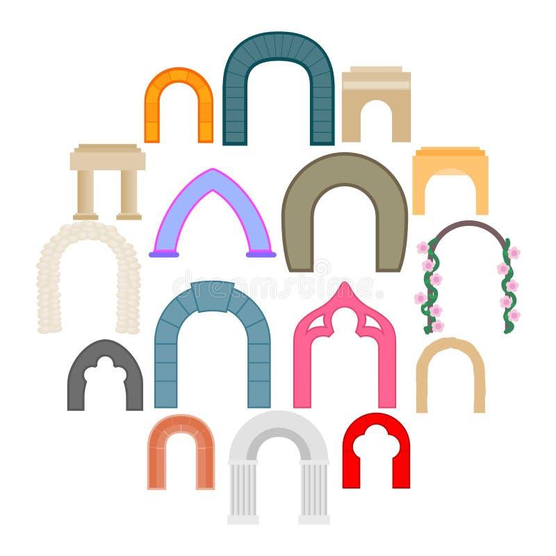 Iconos fijados, estilo plano del arco fotos de archivo