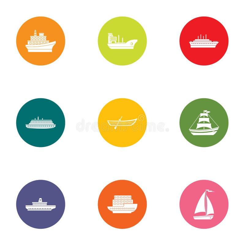 Iconos fijados, estilo plano del bote ilustración del vector