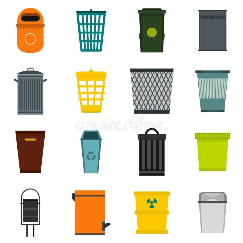 Iconos fijados, estilo plano del bote de basura stock de ilustración