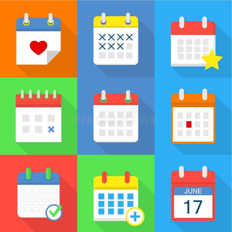 Iconos fijados, estilo plano del calendario stock de ilustración