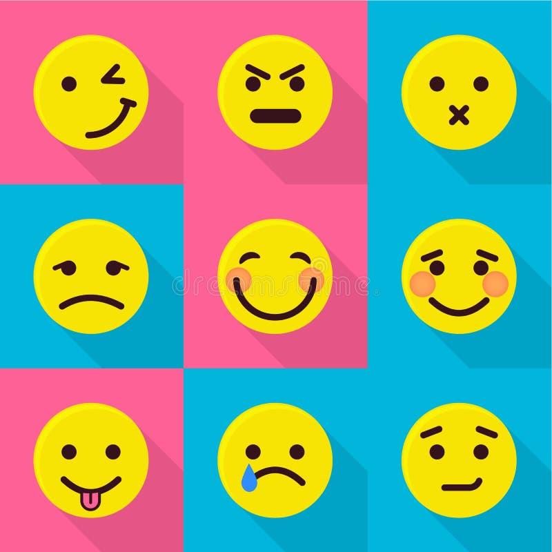 Iconos fijados, estilo plano del cambio del humor ilustración del vector