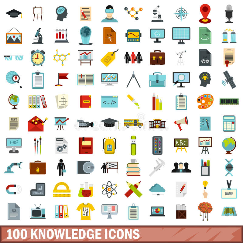 100 iconos fijados, estilo plano del conocimiento ilustración del vector