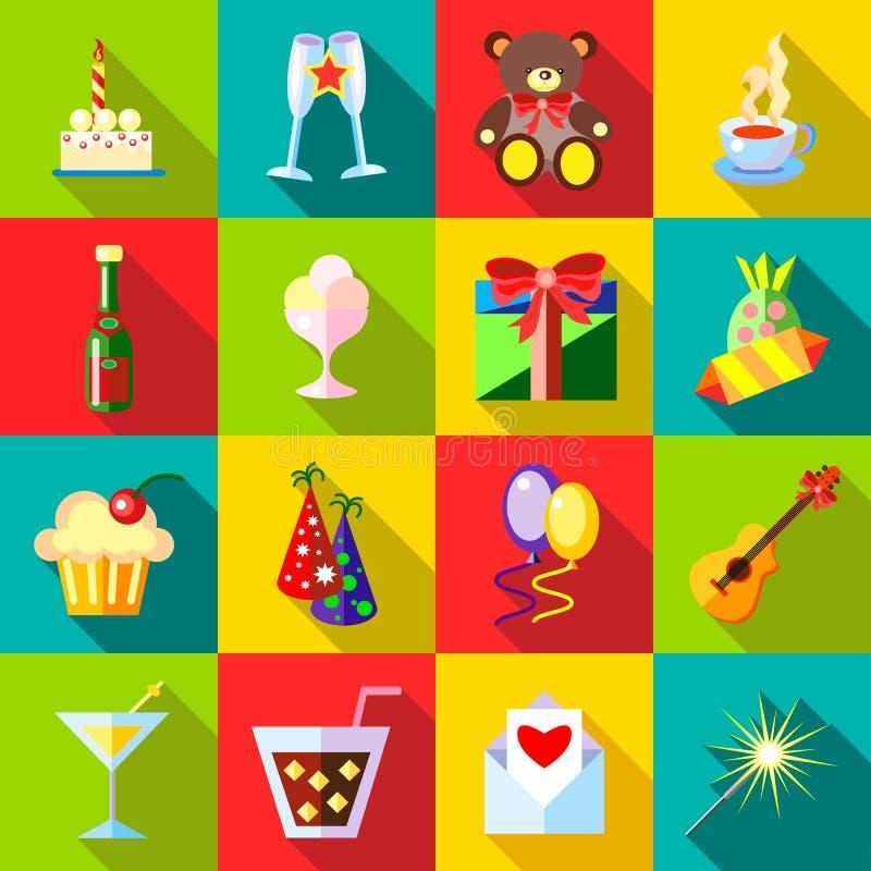 Iconos fijados, estilo plano del feliz cumpleaños libre illustration