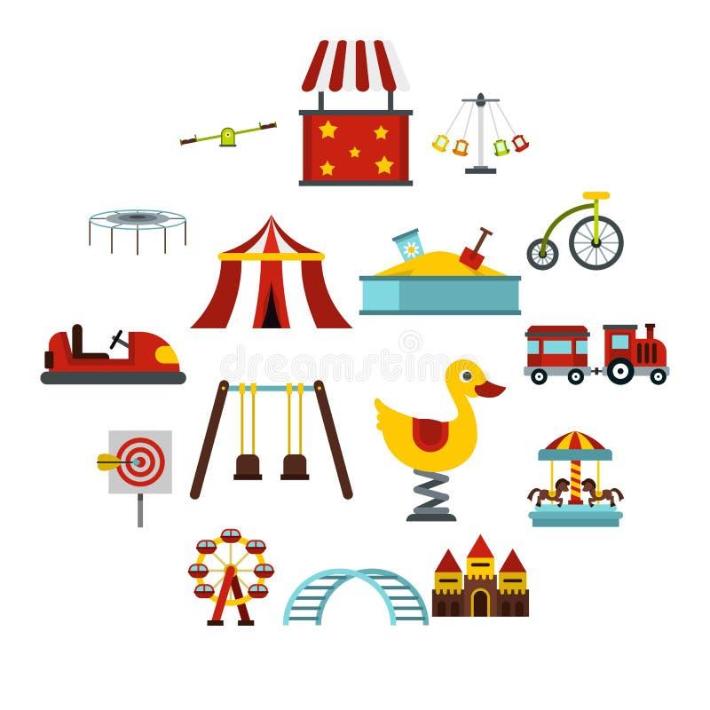Iconos fijados, estilo plano del parque de atracciones ilustración del vector