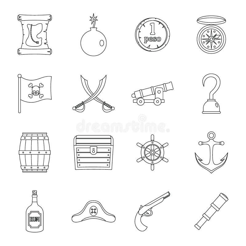 Iconos fijados, estilo plano del pirata libre illustration