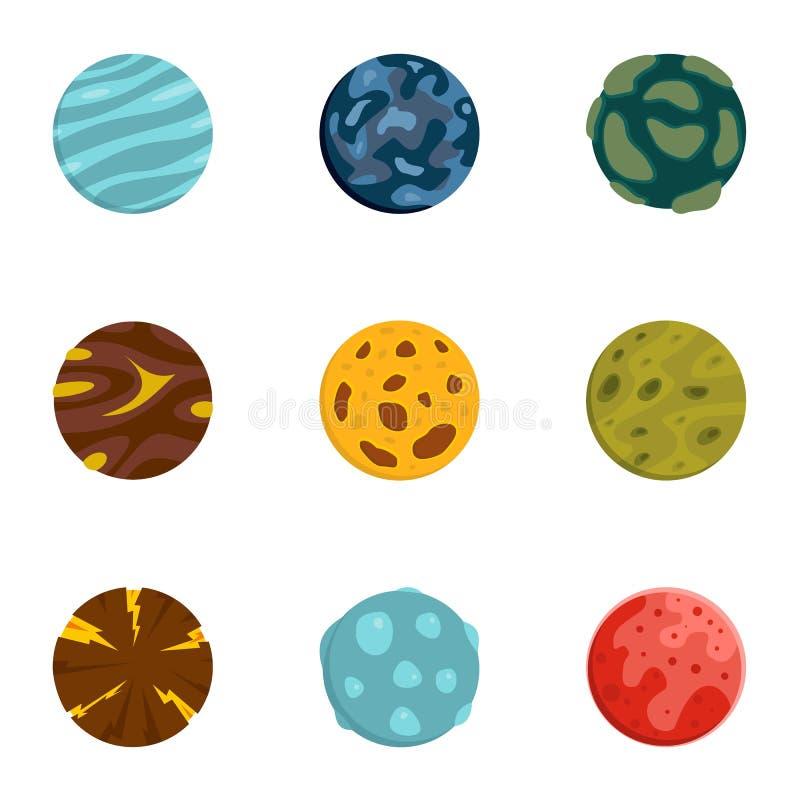 Iconos fijados, estilo plano del planeta del misterio stock de ilustración