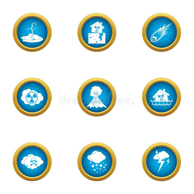 Iconos fijados, estilo plano del problema del tiempo libre illustration
