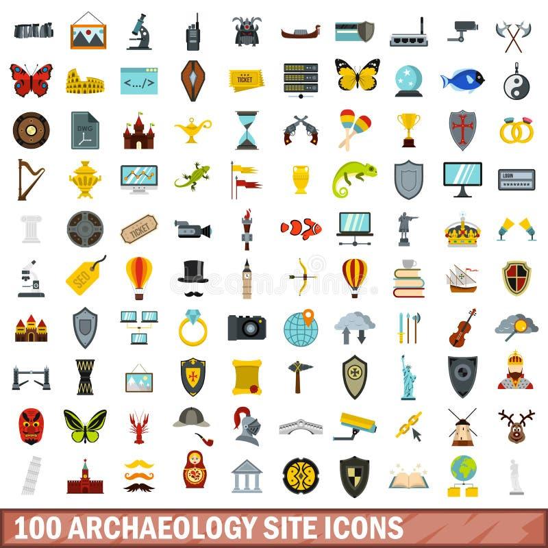 100 iconos fijados, estilo plano del sitio de la arqueología libre illustration