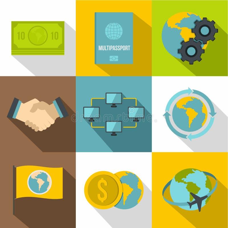Iconos fijados, estilo plano del viaje de negocios libre illustration