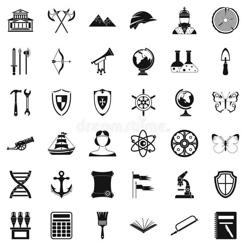 Iconos fijados, estilo simple de la arqueología stock de ilustración