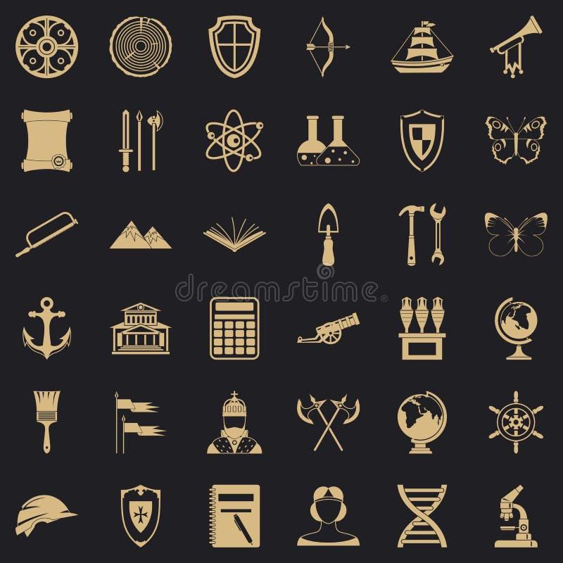 Iconos fijados, estilo simple de la arqueología de la ciencia libre illustration