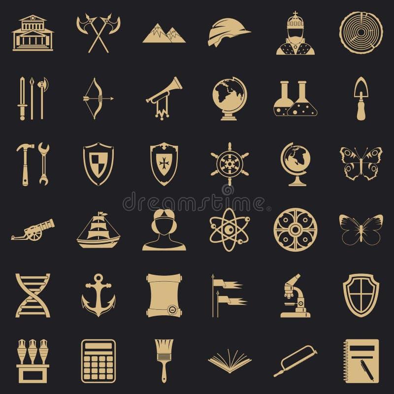 Iconos fijados, estilo simple de la arqueología ilustración del vector