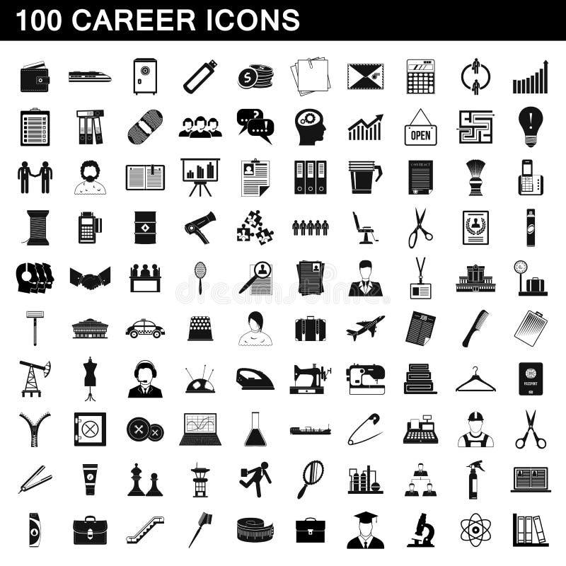 100 iconos fijados, estilo simple de la carrera libre illustration