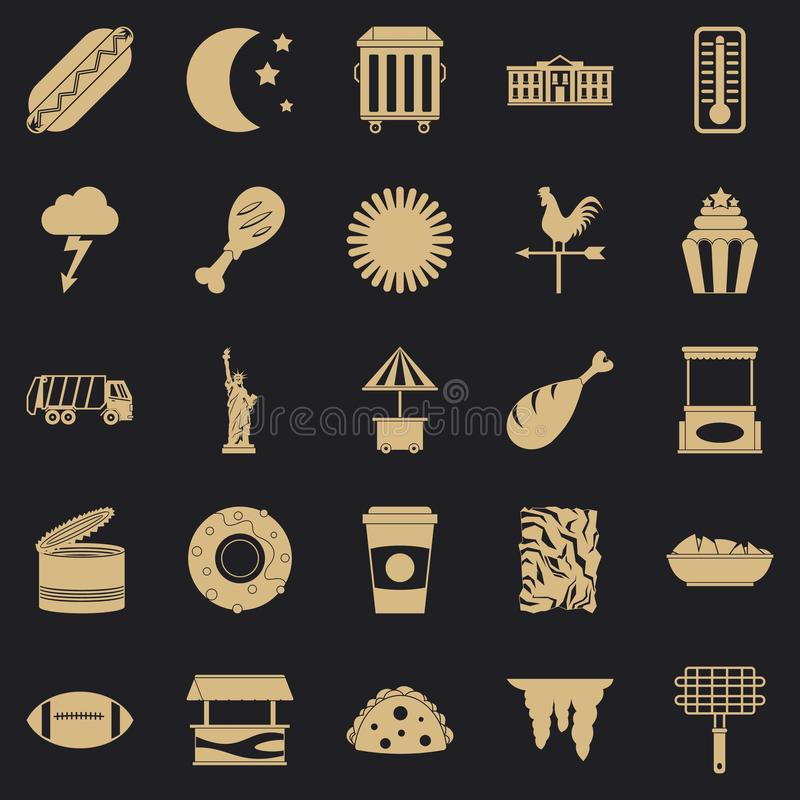 Iconos fijados, estilo simple de la comida de la calle stock de ilustración
