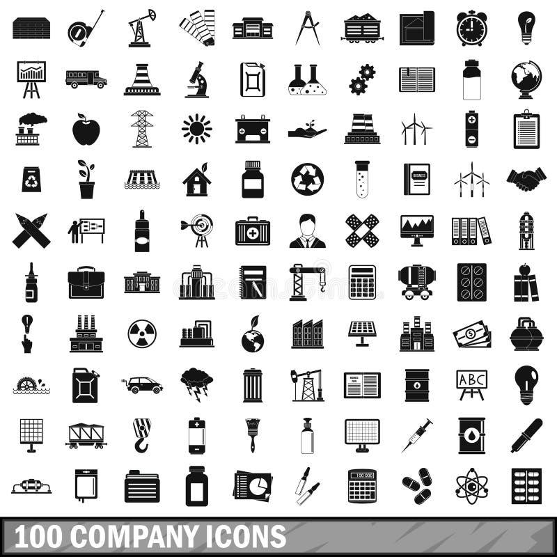 100 iconos fijados, estilo simple de la compañía libre illustration