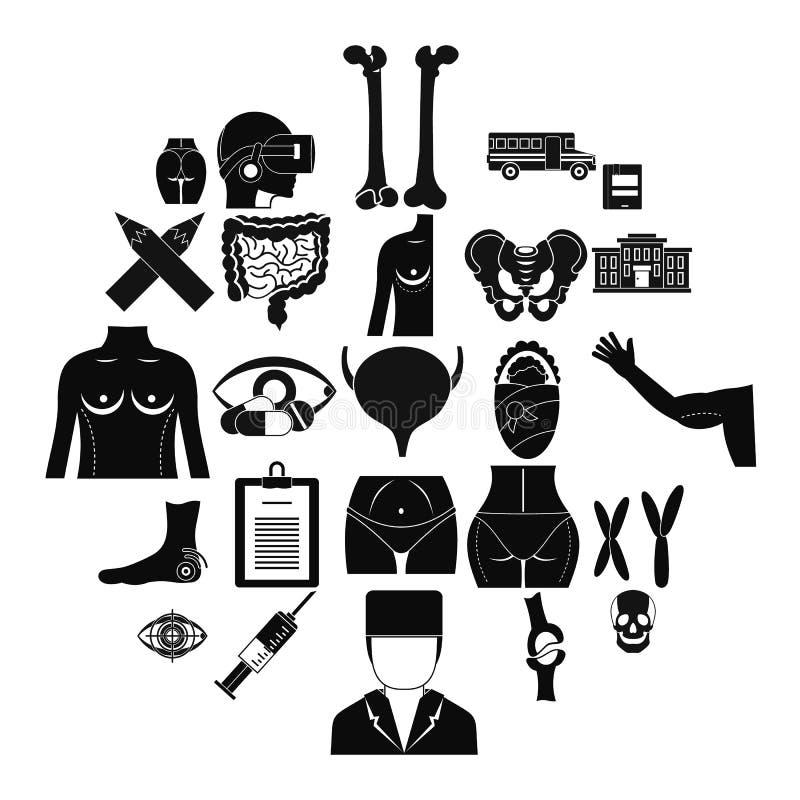 Iconos fijados, estilo simple de la disección ilustración del vector